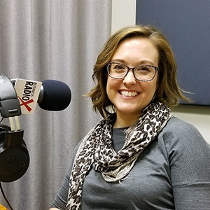 Lisa Glenn Nobles with CO+HOOTS Foundation in the studio at Valley Business RadioX in Phoenix, Arizona
