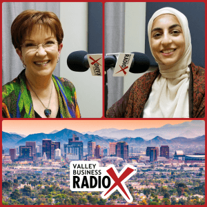 María Tomás-Keegan with Transition & Thrive with Maria and Rawa Awad with Ethár Collection broadcasting live from the Valley Business RadioX studio in Phoenix, Arizona
