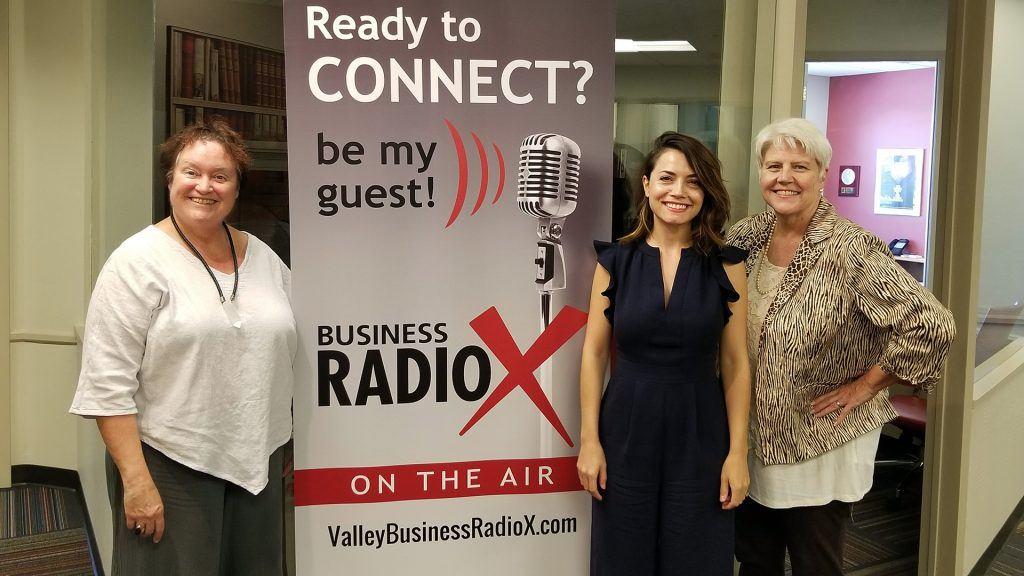 Melissa Sanderson, Tina Kosumi, and Katharine Halpin visit the Valley Business RadioX studio in Phoenix, Arizona