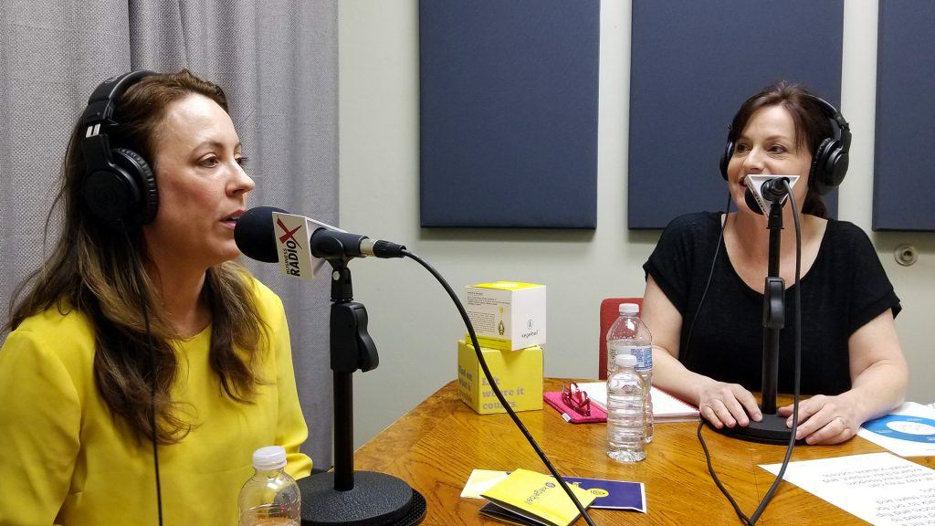 Stephanie Schull and Wendy Breakstone in the studio at Valley Business RadioX in Phoenix, Arizona