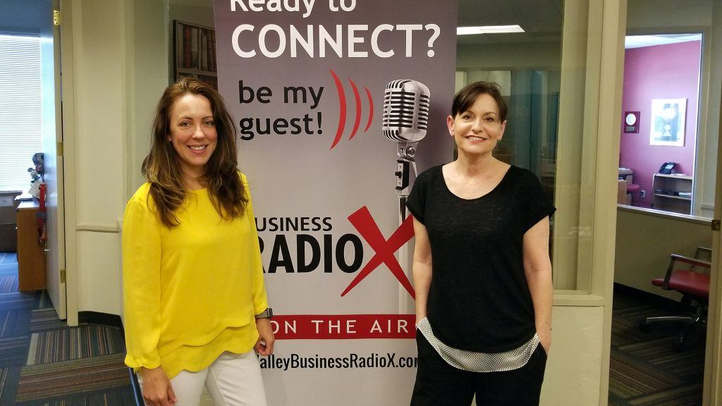 Stephanie Schull and Wendy Breakstone visit the Valley Business RadioX studio in Phoenix, Arizona