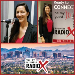 Tiffany Bisconer with Acena Consulting broadcasting live from the Valley Business RadioX studio in Phoenix, Arizona