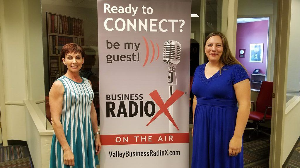 Monique Daigneault with MD Consulting and Cheryl Packham with Codobe visit the Valley Business RadioX studio in Phoenix, Arizona