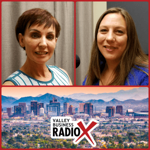 Monique Daigneault with MD Consulting and Cheryl Packham with Codobe broadcasting live from the Valley Business RadioX studio in Phoenix, Arizona