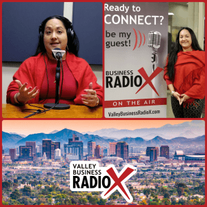 Natalia Ronceria Ceballos with La NRC broadcasting live from the Valley Business RadioX studio in Phoenix, Arizona