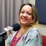 Heather Dopson in the studio at Valley Business RadioX in Phoenix, Arizona