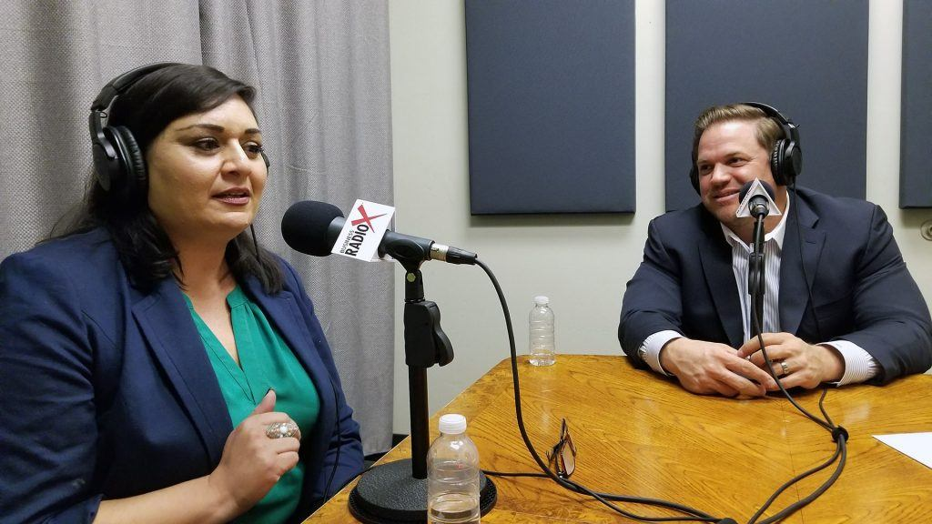 Seela Farani-Simmons with National Education Partners and Jonathan Keyser with Keyser on the radio at Valley Business RadioX in Phoenix, Arizona