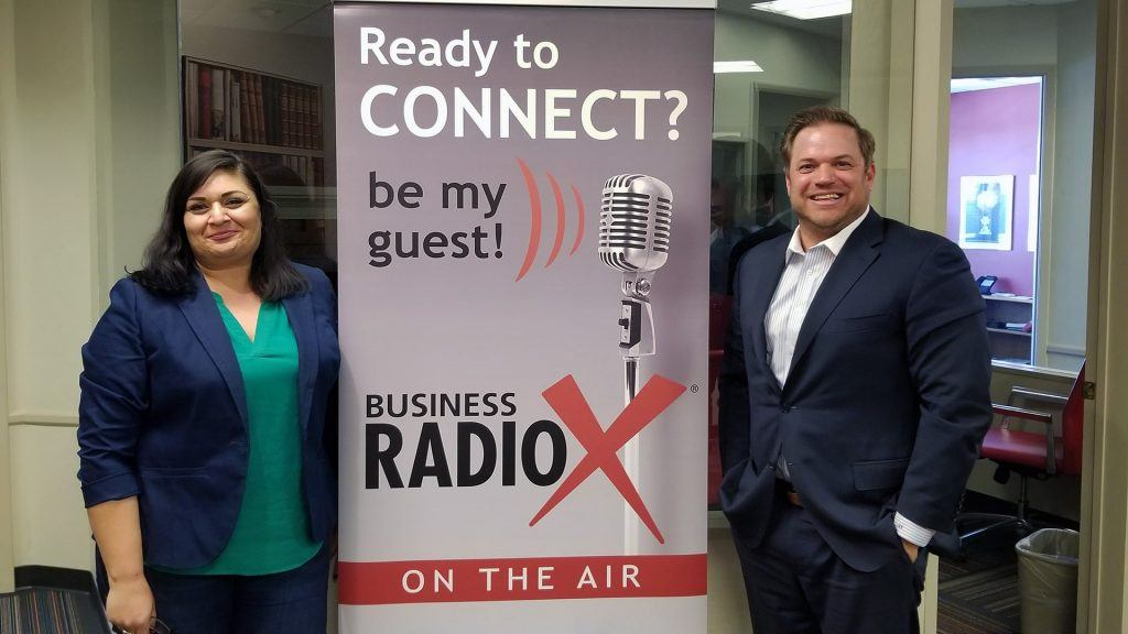 Seela Farani-Simmons with National Education Partners and Jonathan Keyser with Keyser speaking on Valley Business RadioX in Phoenix, Arizona
