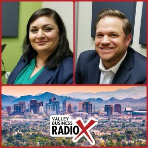 Seela Farani-Simmons with National Education Partners and Jonathan Keyser with Keyser broadcasting live from the Valley Business RadioX studio in Phoenix, Arizona