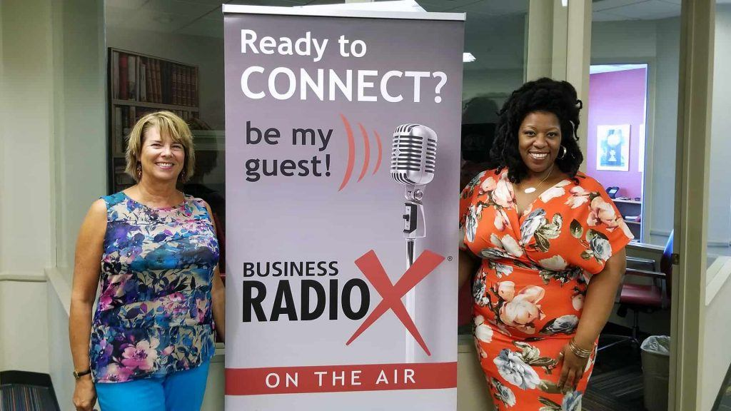 Susan Ratliff with Susan Ratliff Presents and LaCoya Shelton with Revolutionary HR Consulting visit the Valley Business RadioX studio in Phoenix, Arizona