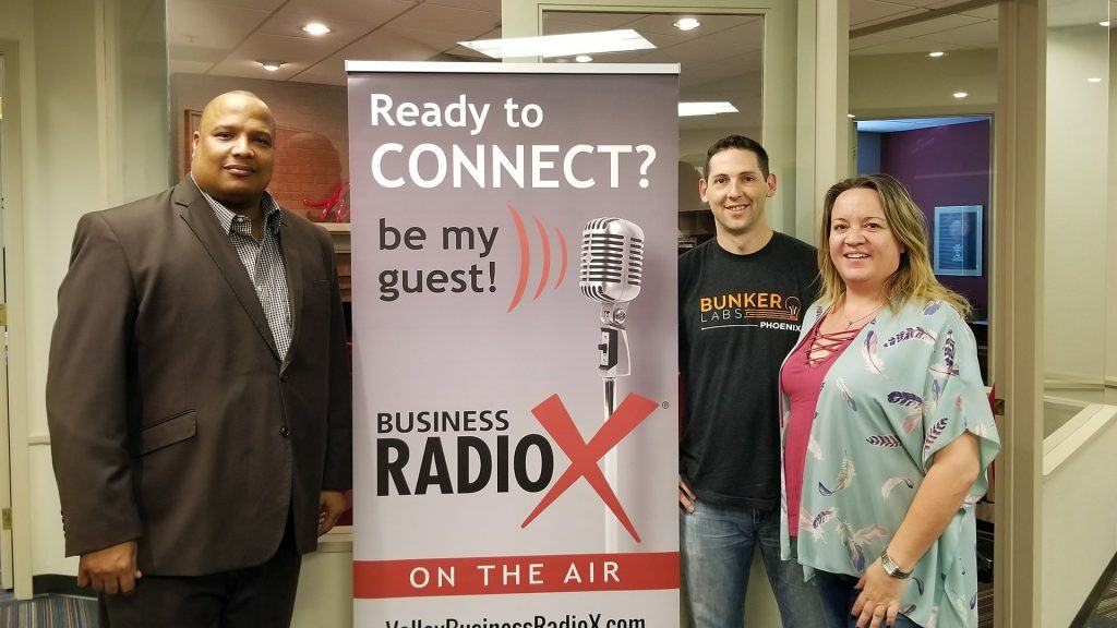 "Alan ""AP"" Powell with the HeroZona Foundation, Heather Dopson, and Ben Bronson with Bunker Labs visit the Valley Business RadioX studio in Phoenix, Arizona"