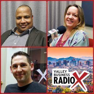 "Alan ""AP"" Powell with the HeroZona Foundation, Heather Dopson, and Ben Bronson with Bunker Labs broadcasting live from the Valley Business RadioX studio in Phoenix, Arizona"