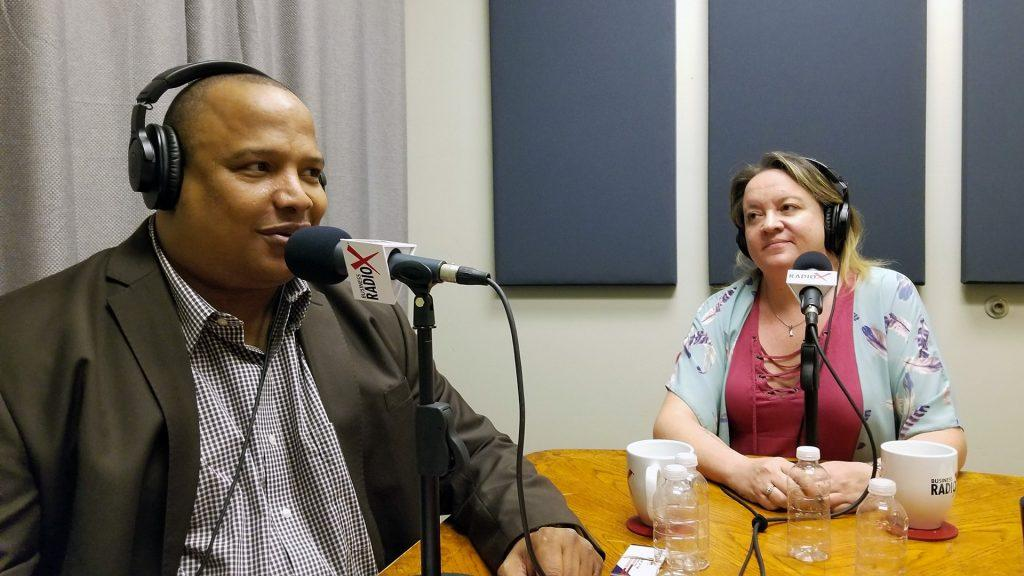 "Alan ""AP"" Powell with the HeroZona Foundation and Heather Dopson speaking on Valley Business RadioX in Phoenix, Arizona"