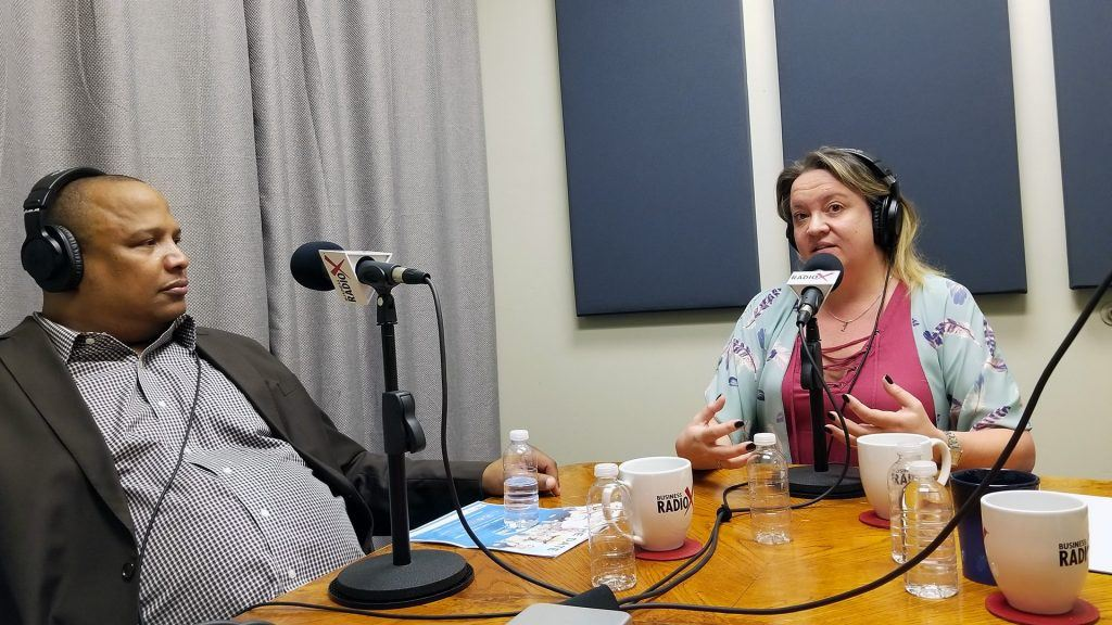 "Alan ""AP"" Powell with the HeroZona Foundation and Heather Dopson on the radio at Valley Business RadioX in Phoenix, Arizona"