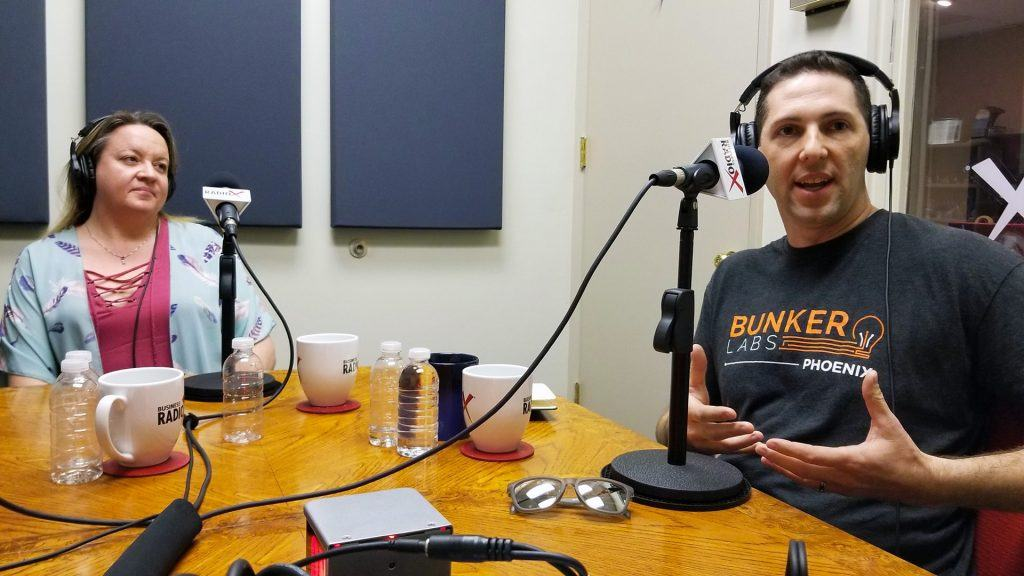 Ben Bronson with Bunker Labs and Heather Dopson on the radio at Valley Business RadioX in Phoenix, Arizona