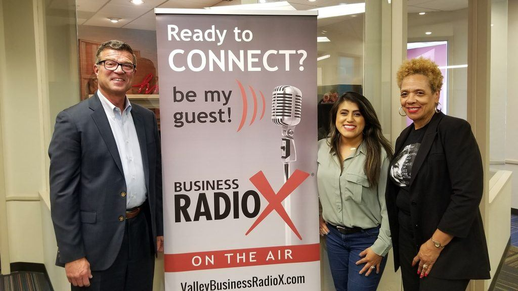 Ellie Pérez, Dr. Ann Hart with the Hart of Education, and Steve Zylstra with the Arizona Technology Council visit the Valley Business RadioX studio in Phoenix, Arizona