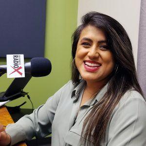 Ellie Pérez with the Arizona Education Association in the studio at Valley Business RadioX in Phoenix, Arizona