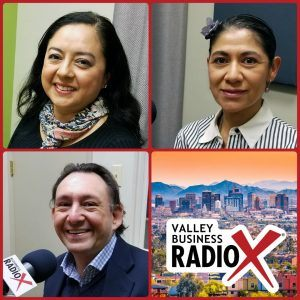 Indira Jeffrey with EKATAR All In One Marketing, Gabriela Castro with Trade in Motion, Eduardo González with 258 Consulting broadcasting live from the Valley Business RadioX studio in Phoenix, Arizona