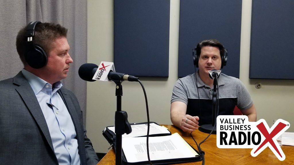Ron Fleming with Global Water Resources and Ben Graff with Quarles & Brady on the radio at Valley Business RadioX in Phoenix, Arizona