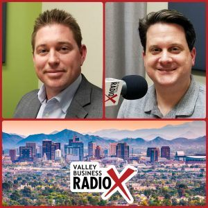 Ron Fleming with Global Water Resources and Ben Graff with Quarles & Brady broadcasting live from the Valley Business RadioX studio in Phoenix, Arizona