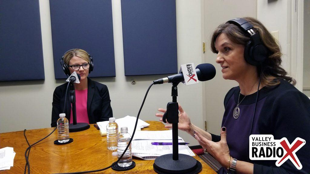 Gail Baer with Jewish Family & Children's Service and Andrea Claus with Bivens & Associates talking on Valley Business Radio in Phoenix, Arizona