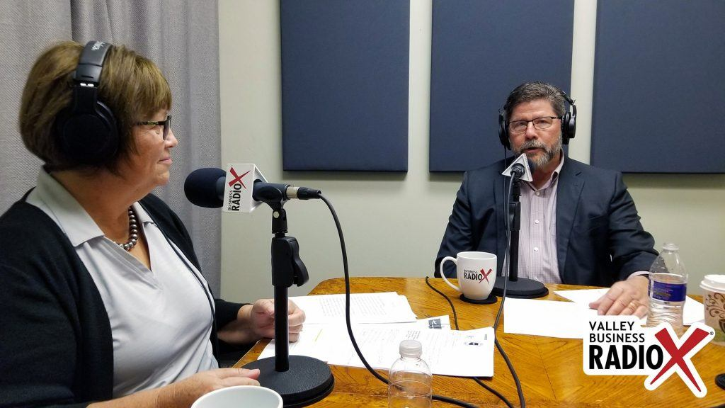 Brenda Martinez and Tom Davis with the Land Title Association of Arizona, Pioneer Title Agency, and Yavapai Title Agency talking on Valley Business Radio in Phoenix, Arizona