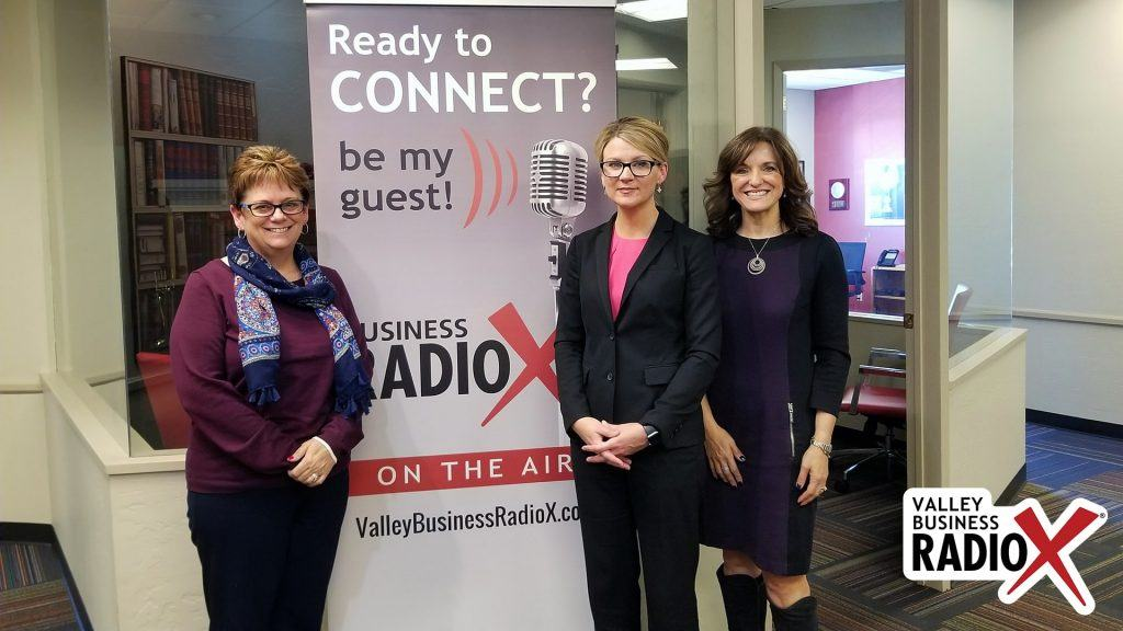 Jeri Royce with Esperança, Gail Baer with Jewish Family & Children's Service, and Andrea Claus with Bivens & Associates visit the Valley Business Radio studio in Phoenix, Arizona