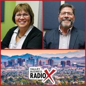 Brenda Martinez and Tom Davis with the Land Title Association of Arizona, Pioneer Title Agency, and Yavapai Title Agency broadcasting live from the Valley Business Radio studio in Phoenix, Arizona