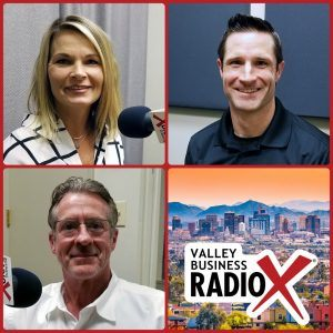 Christina Morse with RebelHR, Alex Cushman with ProKure Solutions, and Ed Chaney with Cannafyl CBD broadcasting live from the Valley Business Radio studio in Phoenix, Arizona