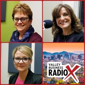 Jeri Royce with Esperança, Gail Baer with Jewish Family & Children's Service, and Andrea Claus with Bivens & Associates broadcasting live from the Valley Business Radio studio in Phoenix, Arizona