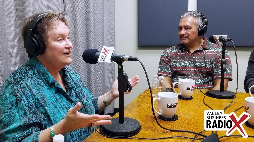 Melissa Sanderson with Freeport McMoRan and Jeffrey Garza Walker with Cresa speaking on Valley Business RadioX in Phoenix, Arizona