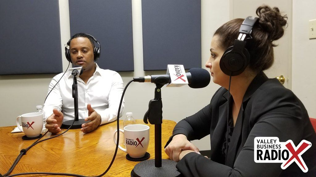 Anibal Abayneh with Africa Fest USA & Cafe Lalibela and social impact consultant Tina Sweis on the radio at Valley Business RadioX in Phoenix, Arizona