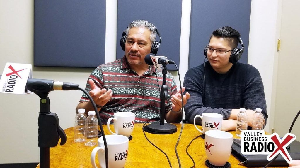 Jeffrey Garza Walker and Joshua Rodriguez with Cresa on the radio at Valley Business RadioX in Phoenix, Arizona