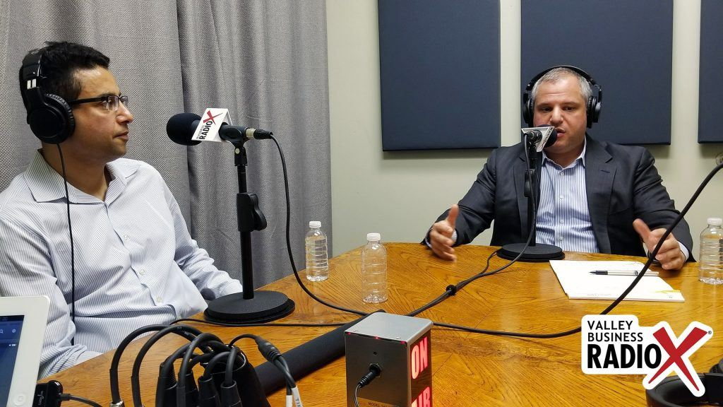 Khalid Al-Maskari and Dr. Roland Segal with HiMS on the radio at Valley Business RadioX in Phoenix, Arizona