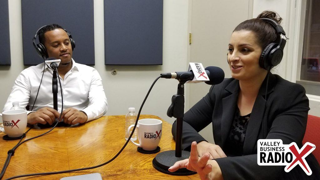 Anibal Abayneh with Africa Fest USA & Cafe Lalibela and social impact consultant Tina Sweis speaking on Valley Business RadioX studio in Phoenix, Arizona