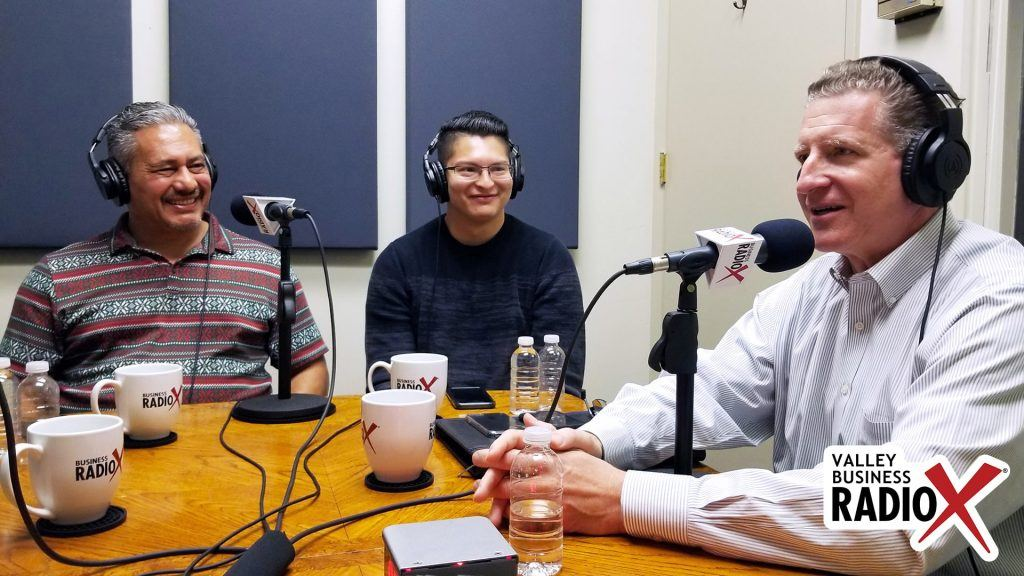 Jeffrey Garza Walker & Joshua Rodriguez with Cresa, Kevin Hull with BMO Harris Bank on the radio at Valley Business RadioX in Phoenix, Arizona