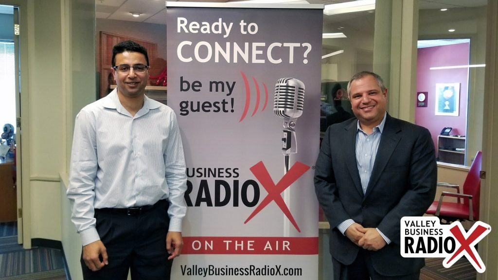 Khalid Al-Maskari and Dr. Roland Segal with HiMS visit the Valley Business RadioX studio in Phoenix, Arizona