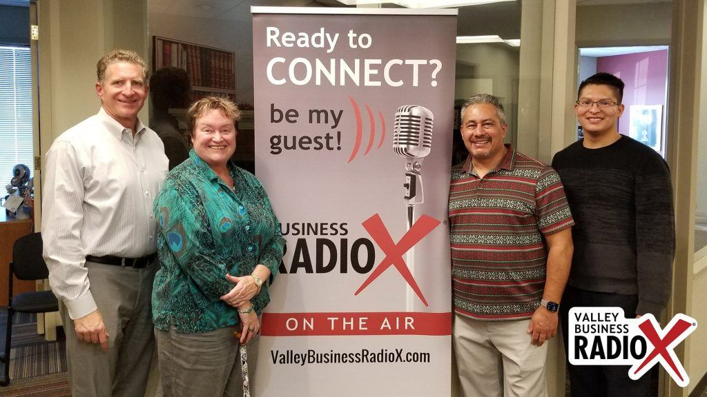 Melissa Sanderson with Freeport McMoRan, Jeffrey Garza Walker & Joshua Rodriguez with Cresa, Kevin Hull with BMO Harris Bank visit the Valley Business RadioX studio in Phoenix, Arizona