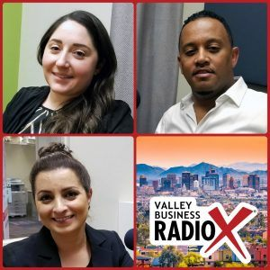 Ali Anderson with Squire Patton Boggs, Anibal Abayneh with Africa Fest USA & Cafe Lalibela, and social impact consultant Tina Sweis broadcasting live from the Valley Business RadioX studio in Phoenix, Arizona