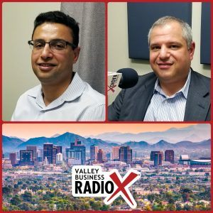 Khalid Al-Maskari and Dr. Roland Segal with HiMS broadcasting live from the Valley Business RadioX studio in Phoenix, Arizona
