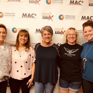 Karianna Blanchard with Parents for Suicide Prevention Julie Gustafson with JMG Consulting Karen Nowicki with Phoenix Business RadioX and Kelly Lorenzen with KLM Consulting