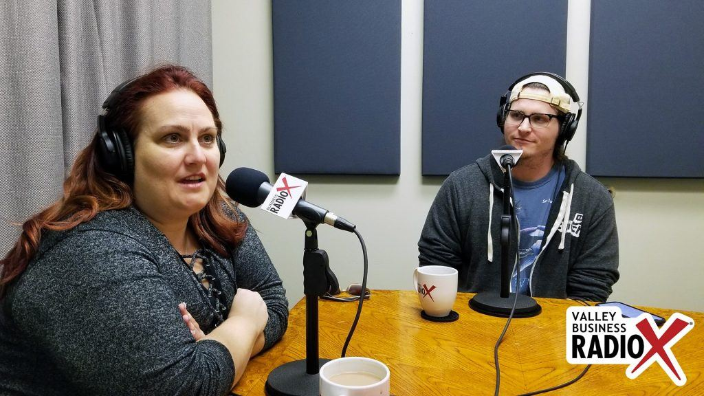 Amber Pechin and Reid Markel with Amplitude Media and PHX Startup Week speaking on Valley Business Radio in Phoenix, Arizona