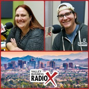Amber Pechin and Reid Markel with Amplitude Media and PHX Startup Week broadcasting live from the Valley Business Radio studio in Phoenix, Arizona