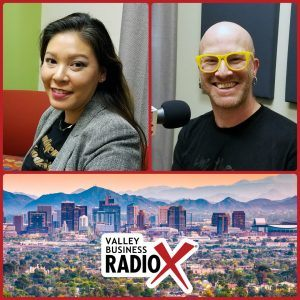 Amanda June with SmokeFire Media and Ashley Bright with Ashley Bright Presents broadcasting live from the Valley Business Radio studio in Phoenix, Arizona
