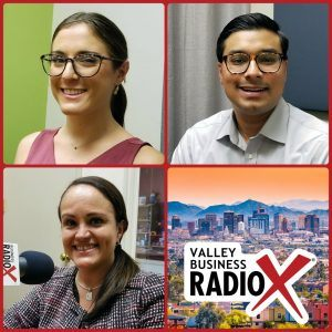 Omar Alam and Sarah Shepis with Viasat and Melissa Armas with AZ Blockchain Initiative broadcasting live from the Valley Business Radio studio in Phoenix, Arizona
