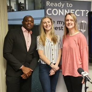 Carly Wieting, Sarah Zeis and Laurence Wingo with GSU
